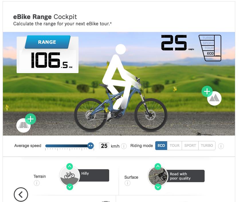 Una schermata dell'applicazione per calcolare la durata della batteria della bici
